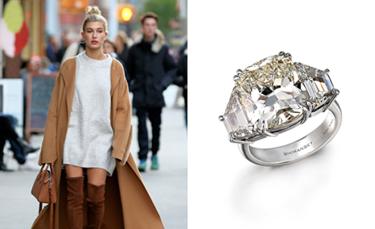 A three stone diamond ring for Hailey Baldwin